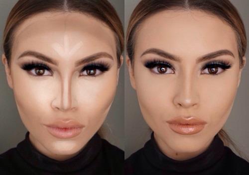 Uzun Yüz Şekline Göre Makyaj  Yüz şeklinizin uzun olduğunu düşünüyorsanız; yüzünüzü olduğundan daha kısa göstermek gerekir. Alnınız uzunsa alnınızı kısalmak için alnın saçlara yakın kısımlarını ve çeneniz uzunsa çenenizden de yüzü kısaltmak için çene ucunu gölgelendirmelisiniz. Gölgelendirme işleminden sonra yüzü biraz daha kısaltmak içinse yüzün ortasına doğru elmacık kemiklerinin üzerlerine allığı uygulamalısınız.
