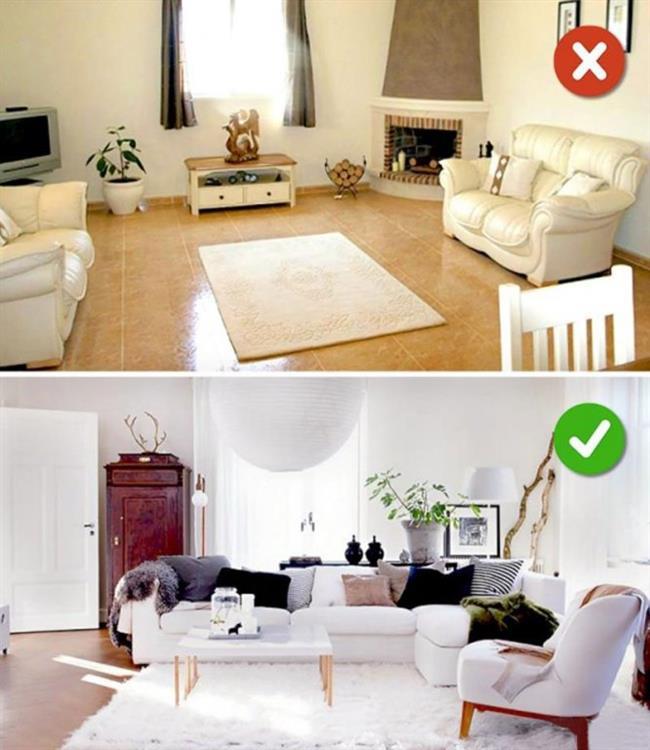 Yanlış Boyda Halı Seçmek    Parkeleri kapatmayan küçük halılar evinizi hem kötü gösterir hemde sağlığınız açısından sorun yaratır. Bu yüzden odanıza uygun boyutta halı seçmeniz çok önemli.