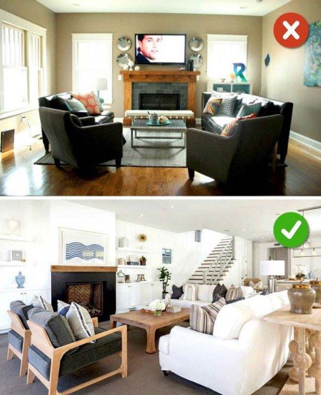 Alçak Tavanda Koyu Renk Mobilya  Tavanınız hem alçakta hemde mobilyalarınız koyu renk ise eviniz kasvetli bir hava da olur.  Bu yüzden tavan alçakta ise daha soft renklerde mobilyalar tercih etmelisiniz.