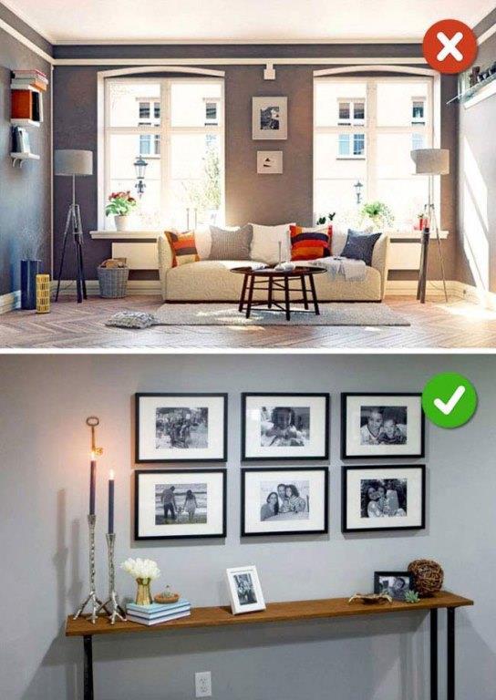 Tablo Ve Çerçeveleri Rastgele Asmak  Duvarınıza güzel durması için astığınız tablolar ve ya çerçeveler tam aksine evinizi daha düzensiz gösterebilir. Bu yüzden astıklarınızı belli bir düzen içinde asmalısınız.