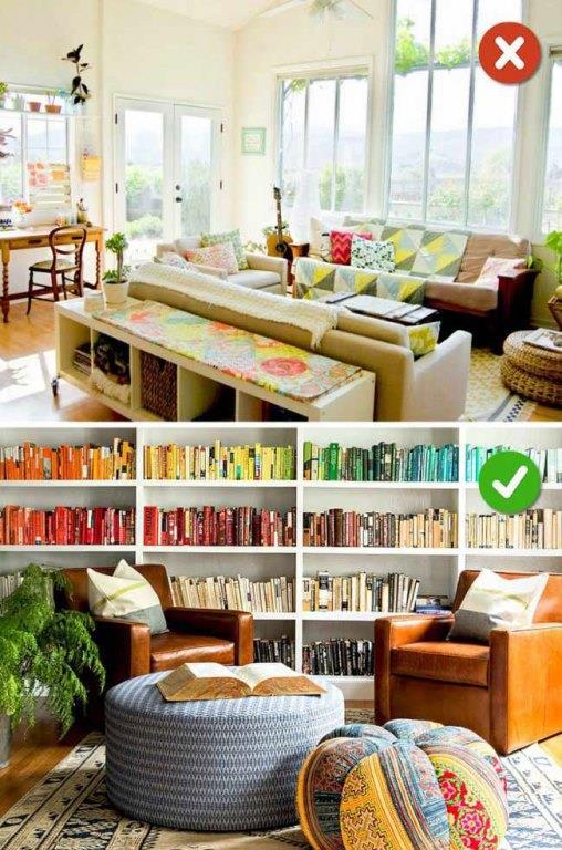 Oda Şekline Uymak  Dikdörtgen ya da kare bir odayı dizayn etmek daha kolaydır ama eviniz üçgense ve odanın ortasında kolon varsa buraları değerlendirmeniz gerekir. Üçgen evlerde kitaplıklar kullanarak daha simetrik bir oda tasarlayabilirsiniz.