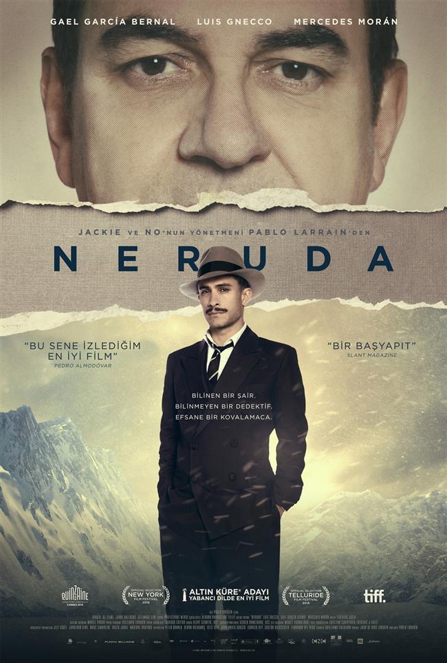 Neruda  Şili'nin önde gelen yazar ve şairlerinden, aynı zaman Şili Komünist Partisi senatörü olan Pablo Neruda, 1948'te devlet başkanı Gabriel González Videla'nın  ülkedeki komünist faaliyetleri yasaklaması üzerine mecliste sert bir konuşma yaparak yasayı protesto eder. Bunun üzerine Neruda'yı yakalama emri çıkarılır ve arama ekibinin başına Oscar Peluchonneau getirilir. Peluchonneau, kendi ülkesinde kaçak durumuna düşen ve tam bir cadı avının hedefi haline gelen Neruda'yı Şili'nin her yerinde çılgın gibi arasa da arkadaşlarının desteğiyle sürekli izini kaybettiren Neruda'yı bulması hiç kolay olmayacaktır.  Vizyon Tarihi:10 Mart 2017