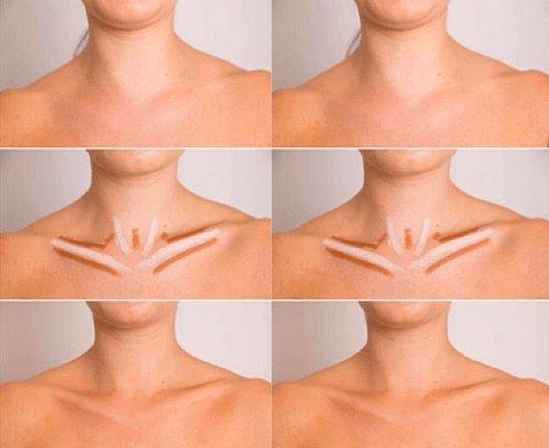 Özellikle kemikli bölgeye uygulanacak aydınlatıcılar çekici bir boyun ve göğüs dekoltesi yaratmanıza fırsat verecektir.