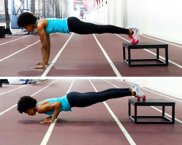 Elevated Pus-up (Asansör şınav)    Şınav pozisyonuna benzer bir hareket daha. Gördüğünüz gibi şınavın farklı versiyonları prektoral kasların çalışması için kullanılan en etkili göğüs büyütücü egzersizleri oluşturuyor. Bu hareketin klasik şınavdan tek farkı ayakların yerde olması yerine yerden 25-30 cm yüksekliğinde olan bir nesnenin üzerinde olmasıdır. Ayaklar parmak ucunda durmalı ve öne arkaya hareket etmemelidir.