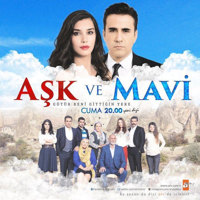 Aşk ve Mavi    Cuma akşamı atv ekranlarında yayınlanan dram kokan hikayesini komedi unsuruyla birleştiren dizi listenin Aşk ve Mavi 7. sırada!