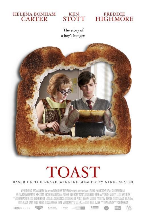 TOAST   Şu aralar Bates Motel'de Norman Bates karakteri ile tanıdığımız Freddie Highmore ve Helena Bonham Carter'ın başrollerini paylaştığı güzel bir film Toast. Anne ve oğul arasında geçen ufak tefek yemek çekişmelerinin sonucunun nereye vardığını görünce çok şaşıracaksınız.