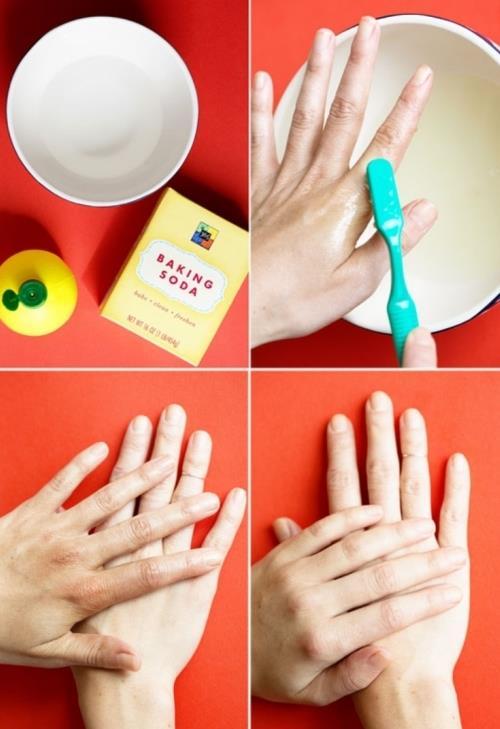 Ellerinizi temizleyin  Karbonat, limonlu su veya soda... Bu karışımı diş fırçası yardımıyla ellerinizdeki lekeleri çıkarabilirsiniz.