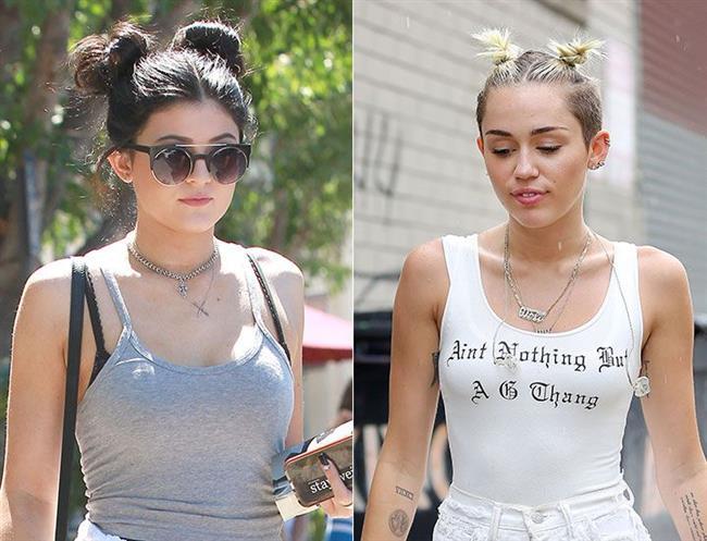 Kylie Jenner ve Miley Cyrus'ın kullanımıyla dikkatimizi çeken ikili topuzlar oldukça dikkat çekiyor.