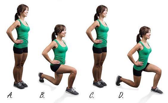 Siz de tüm bu hareketleri başlangıçta ağırlıksız ve küçük setler ile daha sonra ise yavaş yavaş set sayılarını arttırıp hafif ağırlıklar dahil ederek fit bir kalçaya sahip olabilirsiniz.  Lunge  Her iki el ile avuç içleri vücuda bakacak şekilde belinize koyun.Normal duruş pozisyonunda bir bacak bir adım mesafesinde öne atılır, diğer bacak, parmak uçları yerde ve diz yere doğru mümkün olduğu kadar yaklaşacak şekildedir.   Öne atılan bacak mümkün olduğunca ileriye yani omuzlardan uzak bir mesafeye getirilir,   Adım atmak sureti ile tekrar başlangıç durumuna dönülür ve aynı hareket diğer bacakla aynı şekilde tekrarlanır.  Bu egzersizi her bacak için 12-15 tekrar yapabilirsiniz.