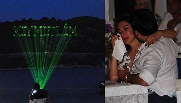 """Ebru Yaşar'ın eşi Necat Bey'in lazerle dağa taşa """"KIYMETLİM"""" yazdırması..."""