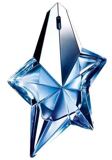 Angel - Thierry Mugler:  Tatlı bir çocukluk ve kadınsı bir cazibenin parfümden bir şiir gibi ışıldadığı mavi billurdan ağır bir yıldız, büyüleyici ve nadir bir imge. Efsanevi melek. Işığın meleği, karşı konulmaz ve büyüleyici karanlıkların ışıltılı elçisi.