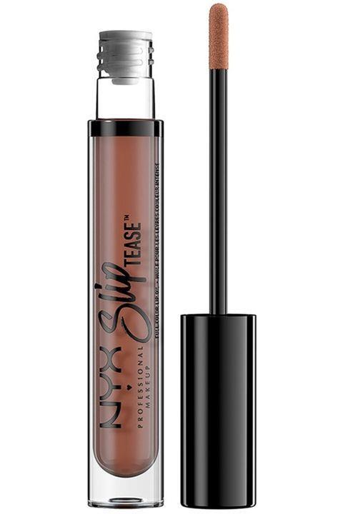 Gül tonlarında, nude dudaklara ne dersiniz?  NYX Cosmetics Slip Tease Full Color Lip Oil in Beyond Basic