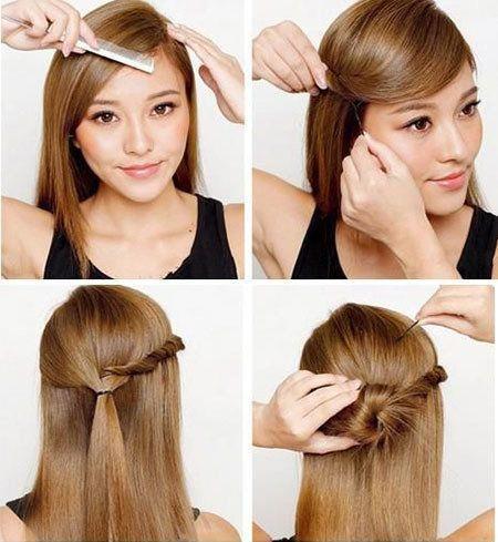 Saçınızın bir tarafını örüp diğer tarafını normal bırakarak toplayın, topuza çevirin. Ufak bir topuz ve topuzu süsleyen örgü, şık görünmek işte bu kadar basit.