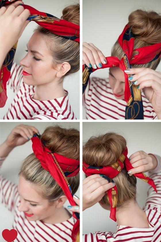 Aksesuar kullanmaktan çekinmeyin ve saçınızı tepeden toplayıp bandana ile süsleyin. Övgülere şimdiden hazırlanın.