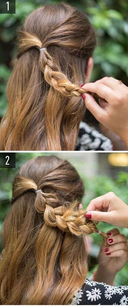 İki ucundan biraz aldığınız tutamları saçınızın arkasında toplayın ve örün. Ördüğünüz saçı topuz yapın ve çiçek görünümü elde ederek saçlarınıza hava katın.
