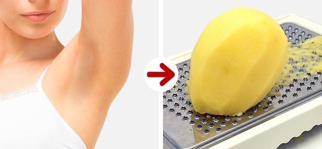 Temiz ve Lekesiz Koltuk Altları İçin:   Rendelediğiniz çiğ patatesi koltuk altlarınıza uygulayın ve yarım saat beklettikten sonra o bölgeyi suyla durulayın. Kararma ve kokulardan kurtulun.