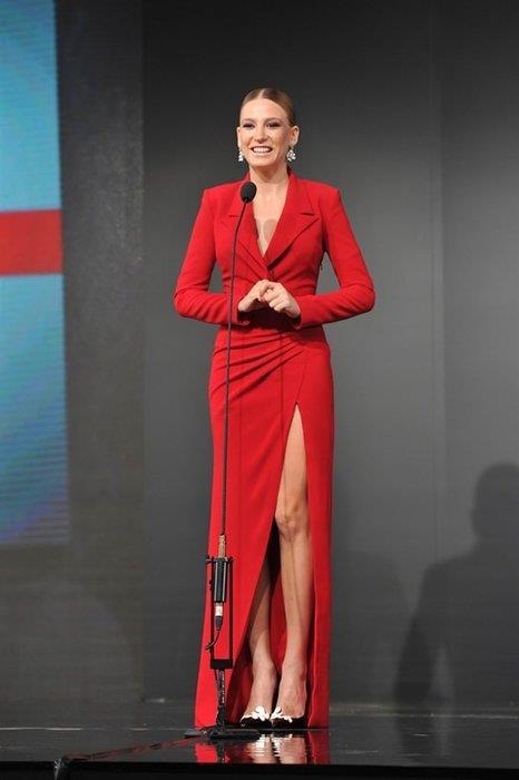 GQ Dergisi Gecesi 2014 yılında Yılın Kadını seçilen Serenay Sarıkaya ödül töreninde tercihini kırmızıdan yana kullanıp tüm beğenileri toplamıştı.