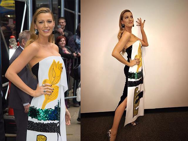 Gala çekimleri için bu tarzı tercih eden Lively, renkli elbisesiyle kendine hayran bırakmıştı.