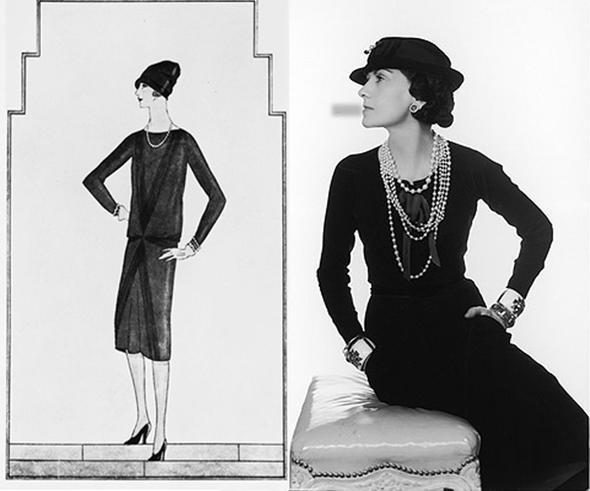 Coco Chanel  Kadınların pantolon giyinmesi ve takılarla göz alıcı eserlere dönüşmesini sağlayan Coco Chanel, 1926'nın Vouge'unda; o siyah elbisenin tüm seksiliğini gözler önüne seriyor, tarihe bu en güzel kara lekeyi bırakıyordu.