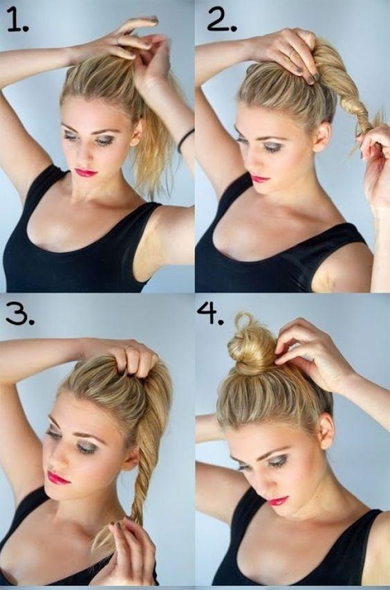 Saçınızı elinizle at kuyruğu şeklinde kafanızın üstünde toplayın. Topladığınız parçayı döndürerek topuz oluşturacak gibi şekillendirin. Tel tokalarla sabitleyin.