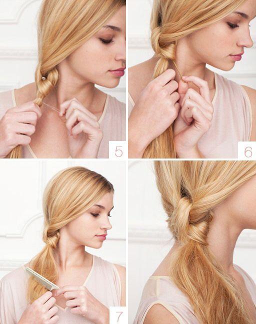 Aynı bir düğüm şeklini anımsatan saçınızın kuyruk kısmından bir lastik tokayla tutturun. Saçın uçlarını tarak yardımıyla şekillendirin.