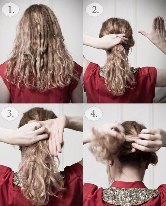 Saçınızı at kuyruğu şeklinde elinizde toplayın ve saçı belli bir noktasından tutarak döndürün.