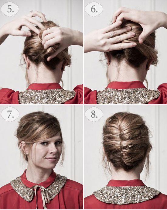 Döndürdüğünüz parçaya topuz şeklini verin. Saçı iç kısımlardan tel toka yardımıyla sabitleyin.