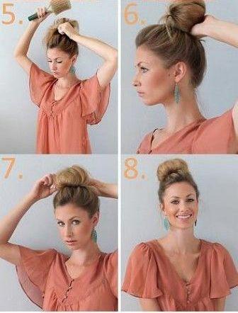 Saçınızı şekillendirici bir fırçayla düzelterek elinizde topuz şeklini verin. Şekil verdiğiniz saçınızı toka yardımıyla sabitleyin.