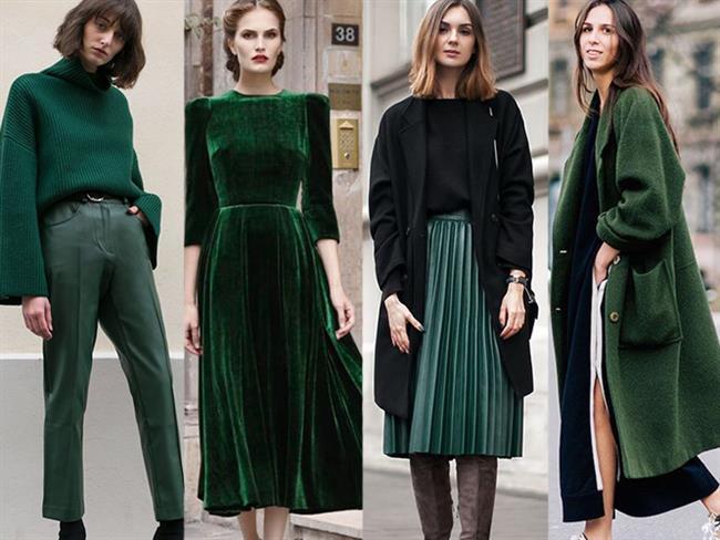 Yeşil rengi tüm tonlarıyla birlikte kış koleksiyonlarında yerini aldı! 2018 yılında yeni ve trend renklerden biri olan yeşil rengini sizler için bir araya getirdik.  Kaynak Fotoğraflar: Pinterest