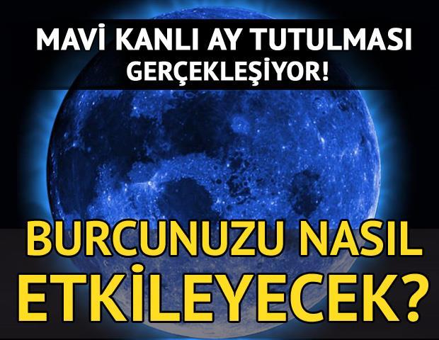 31 Ocak 2018 Çarşamba günü, tam 152 yıl sonra gökyüzünde Süper Mavi Kanlı Ay Tutulmasına şahitlik edeceğiz! 13:51 ve 19:08 saatleri arasında aynı anda Mavi Ay, Tam Ay Tutulması, Kanlı Ay ve Süper Ay yaşanacak.   SÜPER KANLI MAVİ AY NE ZAMAN?   Süper Kanlı Mavi Ay Tutulması ve 16:29'da 11° Aslan burcunda Dolunay meydana gelecek. Uzman Astrolog Aygül Aydın, Süper Kanlı Mavi Ay tutulmasının burçlara etkilerini anlattı.