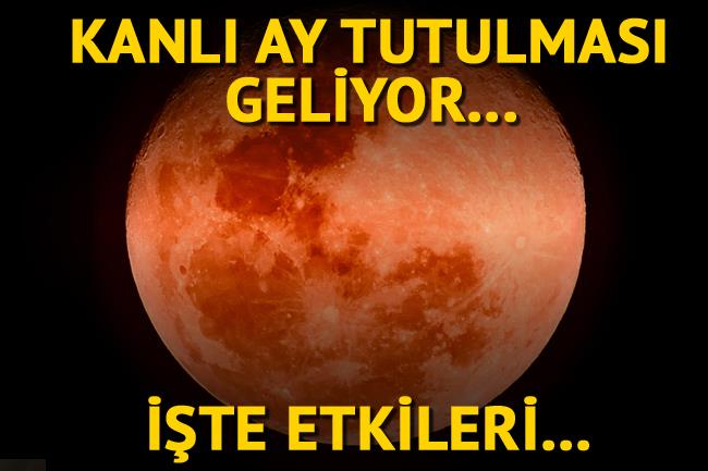 EN UZUN KANLI AY TUTULMASI!   21. yüzyılın en uzun kanlı Ay tutulması 27 Temmuz'da gerçekleşecek. Tutulma, Türkiye'de saat 20.15 gibi başlayacak ve gece 02.20'ye kadar devam edecek. Ay'ın kızılımsı bir hale büründüğü muhteşem görüntüsü ise en iyi 23.25 gibi gözlemlenebilecek.   Peki bu tutulmanın burçlara etkileri nasıl olacak? Uzman Astrolog Aygül Aydın kanlı ay tutulmasının burçlara etkilerini açıkladı...  Kaynak fotoğraflar: Alamy, Hürriyet