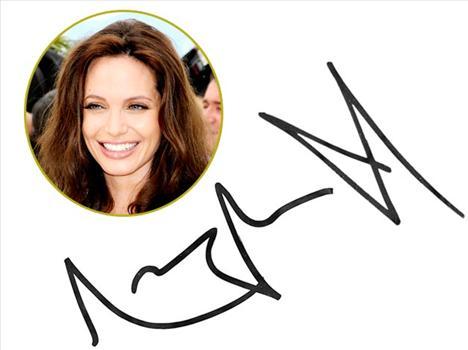 Angelina Jolie Sivri uçlu A harfi saldırganlığının bir göstergesi, açılı yazdığı harfler ise hayatını kendi bildiği gibi yaşadığının ve bunu her ne pahasına olursa olsun koruduğunun bir işareti.