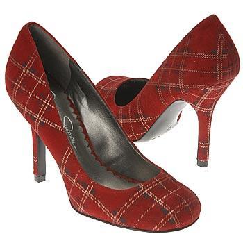 İnce topuklu kırmızı ekose ayakkabı