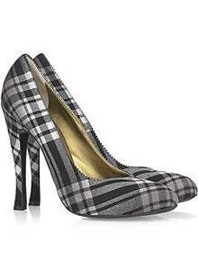 Grili beyazlı ince topuklu ekose ayakkabı