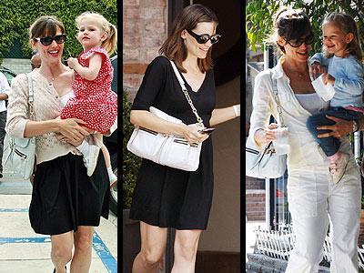 """Jennifer Garner, Los Angeles sokaklarında dolaşırken bir elinde kızı Violet, bir elinde zincir saplı """"Hero"""" model Lanvin marka çantasını gayet iyi idare ediyor."""
