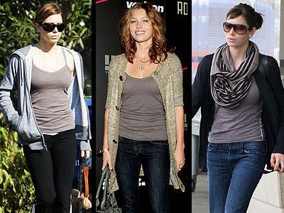 Jessica Biel, bir konsere giderken ya da seyahat ederken, yumuşak ve rahat Daftbird marka askılı tişörtünden vazgeçemiyor.