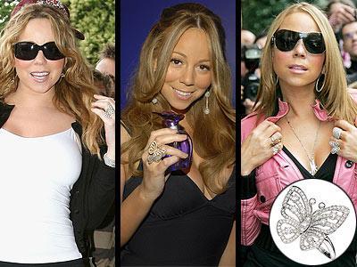 Mariah Carey'nin kelebeklere olan düşkünlüğünü bilmeyen yok. Van Cleef & Arpels Envol  marka,18 karatlık elmaslarla süslenmiş beyaz altından yüzüğünü parmağından hiç çıkarmıyor! Yüzüğün fiyatı 31.200 Dolar!