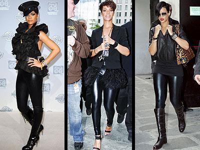 """Rihanna, sahne kıyafetlerini sokakta da giymeye devam ediyor; """"Liquid"""" model Members Only marka taytıyla, Toronto'dan New York'a kadar her yerde boy gösteriyor."""