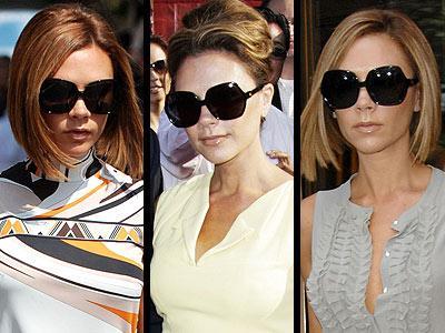 Victoria Beckham, kırmızı halıdan sokağa her yerde, hem güneşten hem de paparazzilerden kaçmak için, kendi giyim koleksiyonu dVB markalı büyük güneş gözlüklerinin arkasına saklanıyor.