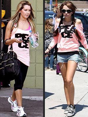 Soldaki: Miley Cyrus Sağdaki: Ashley Tisdale