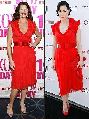 Soldaki: Brooke Shields Sağdaki: Dita von Teese