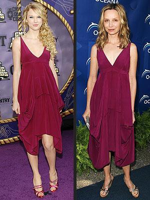 Soldaki: Taylor Swift Sağdaki: Calista Flockhart