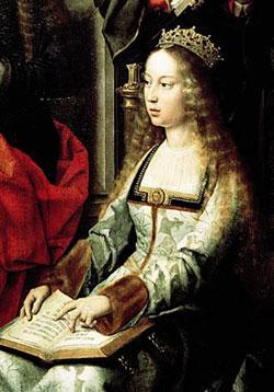 """Kastilya Kraliçesi Isabella   Doğum: 1451, Ölüm: 1504  İspanya kraliçesi I. Isabella Kristof Kolomb'un hamisi olarak da biliniyor. Onun talebi üzerine İspanyol engizisyonunda din temelli temizlik politikası başlatılmıştı. 31 Mart 1492'de Yahudilerin ve Müslümanların sınır dışı edilmesini öngören Elhamra Kararnamesi yürürlüğe girdi. Yaklaşık 200 bin kişi İspanya'dan kovuldu. Kalanlar da din değiştirmeye zorlandı. Fakat büyük bir bölümü Isabella'nın emriyle engizisyon tarafından idam edilmişti. 1974'te Papa VI. Paul I. Isabella'nın kutsanmasını talep etti ve Isabella'nın azize ilan edilmesini sağladı. Terör örgütü El Kaide'nin lideri Usame Bin Ladin ise, İspanya'da yapılan bir saldırıdan sonra Kraliçe Isabella'nın İspanya'daki Müslümanları öldürüşünü ve sürgüne göndermesini unutmadıklarını ve bunun intikamını alacaklarını söylemişti. Satrançta vezir olarak bilinen taşın İngilizce adı olan """"queen"""" de Isabella'yı simgeliyordu."""