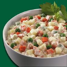 Rus Salatası  Malzemeler:  • 1 kutu bezelye konseve • 5 adet küp küp doğranıp haşlanmış patates • 3 adet küp küp doğranıp haşlanmış havuç • 250 gr. küp şeklinde doğranmış salatalık turşusu • 300 gr. mayonez • 5 kaşık yoğurt • 2 tatlı kaşığı nane • 3 diş sarmısak • Tuz.  Hazırlanışı:  Yoğurt mayonez sarımsak ve naneyi karıştırın. Küp küp doğranmış diğer malzemeleri de karıştırıp yoğurtlu sosa ekleyin. Salatayı servis tabağına alarak servis edebilirsiniz.