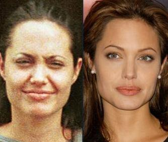 Angelina Jolie'nin makyajsız ve makyajlı hali