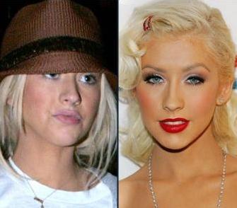 Christina Aguilera'nin makyajsız ve makyajlı hali