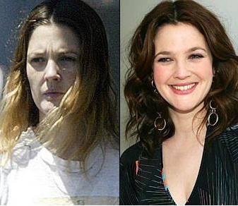 Drew Barrymore'nin makyajsız ve makyajlı hali